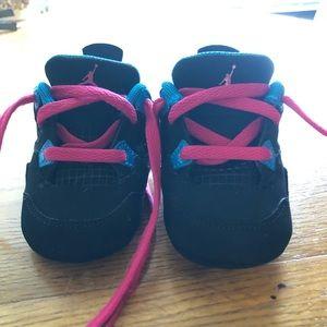 Nike blue pink black infant Jordan 4 Retro Crib